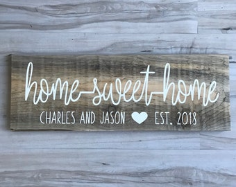 Home Sweet Home Sign   Personalized Wood Sign