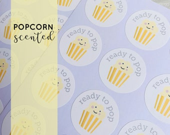 24 Ready to Pop stickers, POPCORN scented, baby shower stickers, yellow baby shower, neutral baby shower