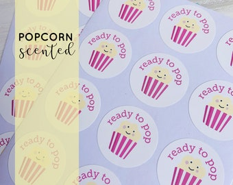 24 Ready to Pop stickers, POPCORN scented, baby shower stickers, pink baby shower, girl baby shower