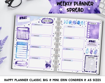 WEEKLY Planner Inserts for Happy Planner Classic, Big & Mini, Erin Condren and A5 Size Planners, Watercolor Moon Printable Planner Pages