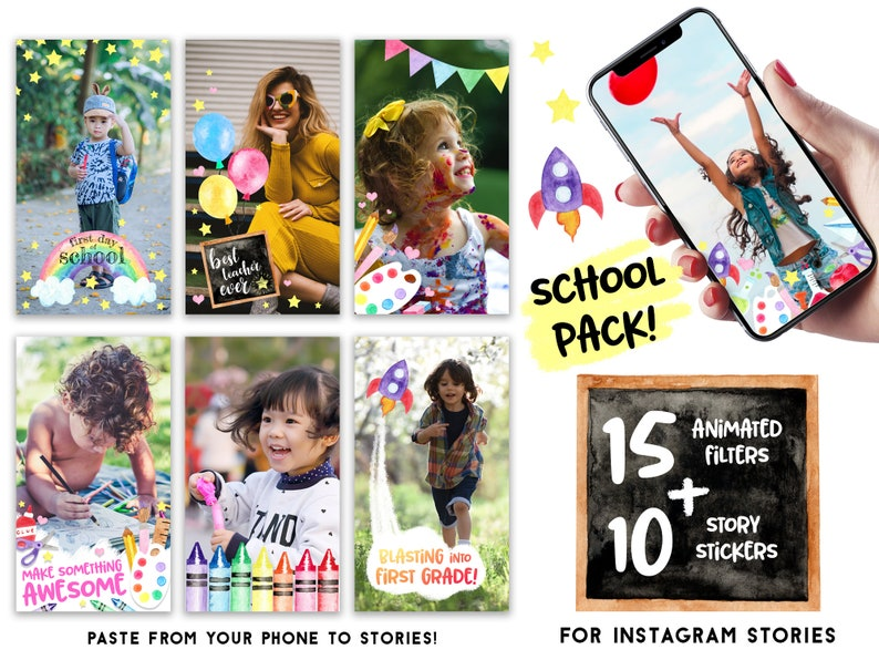 Back to School Animated Instagram Filters and Instagram Story Stickers -  Instagram Templates - Teacher Resources - Social Media Filters