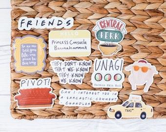 FRIENDS STICKERS - waterproof stickers, tv show stickers, tv quote stickers, pivoit couch sticker, central perk sticker, relaxi taxi sticker