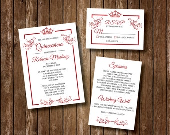 Quinceanera Crown Princess Invitation RSVP Card Printable Sweet Sixteen Birthday Royal Theme Quince
