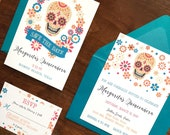 Sugar Skull Day of the Dead Mexican Fiesta Theme Wedding Invitation Quinceanera Sweet Sixteen Birthday XV Save the Date Cumpleaños Invite