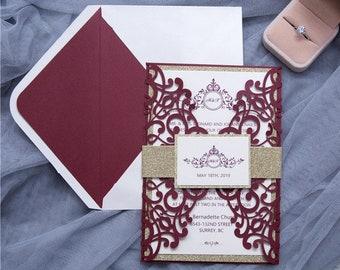 Quinceanera Invitation Burgundy Etsy