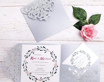 tri fold invitations etsy