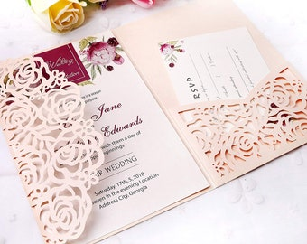 Blush Pink Tri Fold Laser Cut Invitation RSVP Card Wedding Quinceanera Sweet Sixteen Bat Mitzvah Birthday Invitacion