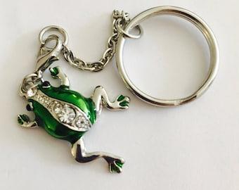 Green, silver Frog animal keychain