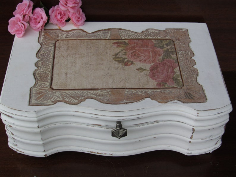 Wedding Keepsake Box Wedding Shower Gift Baby Keepsake Box Remembrance Box Decoupaged Upcycled Box Vintage Jewelry Box
