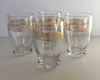 Unique Set of 4 Gold Banded Water / Juice Glassware - Small Glass Vintage Tumbler - Gold Rimmed - Etched Glass