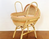 Vintage Wicker Rattan Doll Bassinet with Stand Boho Doll Bed Toy Crib or Cradle