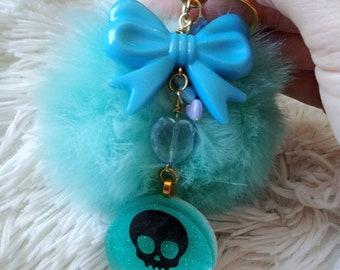 Teal Skull Fluffy Keychain