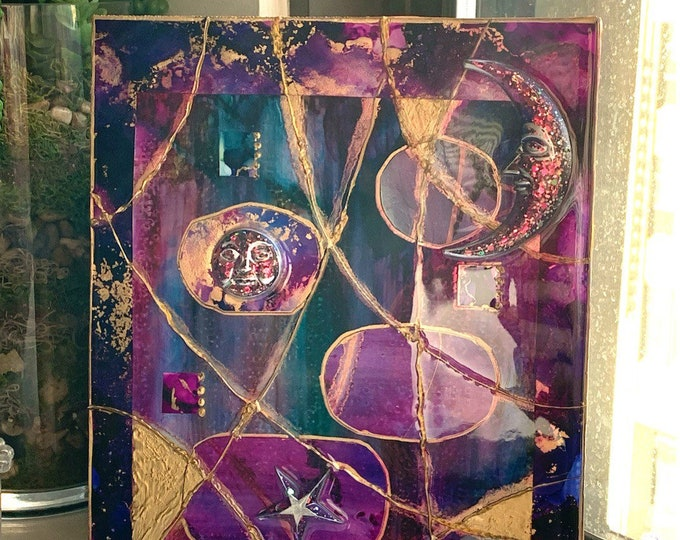 Original Artwork | Celestial Art Original | Purple Art Painting | Purple Art Decor | Moon and Stars Nursery Decor | Wood Art Wall