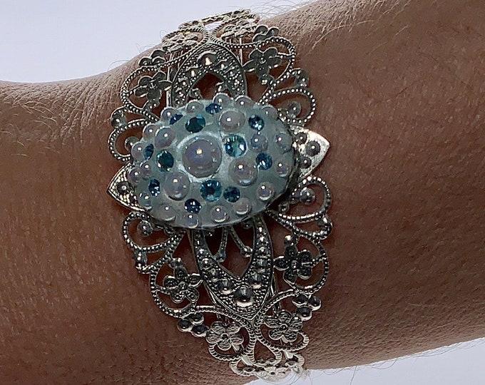 Swarovski Crystal and Resin Blue Cuff Bracelet | Blue Cuff Bracelet | Swarovski Crystal Bracelet | Resin Cuff Bracelet