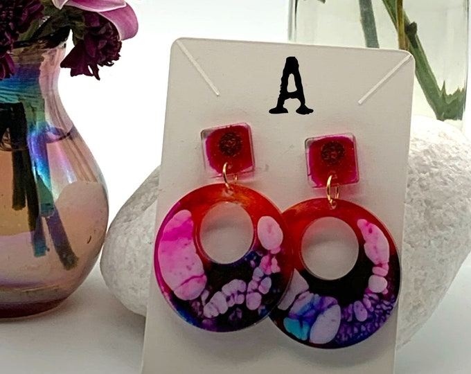 Handmade Geometric Resin Dangle Earrings | Resin Earrings | Dangle Earrings | Cute Earrings | Statement Earrings | Gift for Her