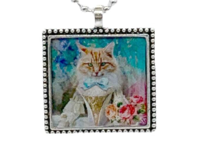 Silver Cat Pendant Necklace - Rectangle Silver Necklace - Cat Charm Necklace - Kitty Pendant Necklace - Pet Parent Gift