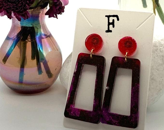 Handmade Geometric Resin Dangle Earrings | Resin Earrings | Dangle Earrings | Cute Earrings | Statement Earrings | Gift for Her