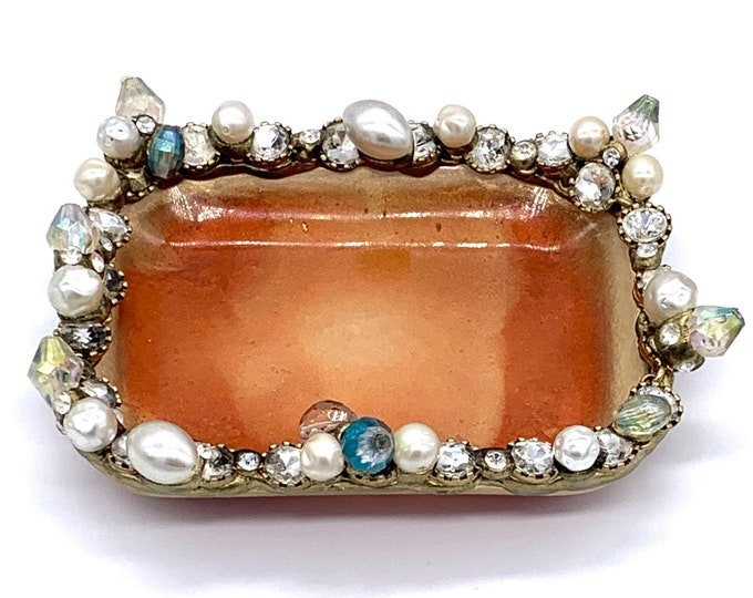 Trinket Dish - Rectangle Shaped Bowl - Trinket Tray Dish -  Gold Trinket Dish - Crystal Dish