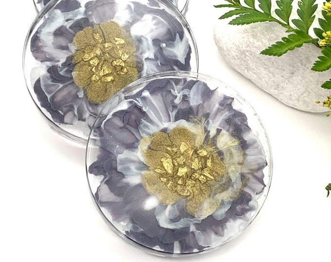 Black Tie Wedding Floral Resin Drink Coasters | Wedding Gift Coasters | Black and Gold Coasters | Floral Coasters