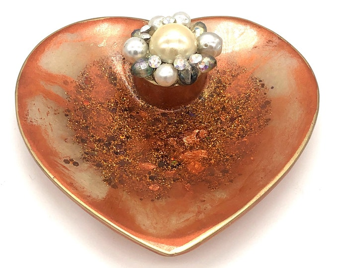 Trinket Dish - Copper and Gold Heart Bowl Dish - Heart Shaped Bowl - Trinket Tray Dish
