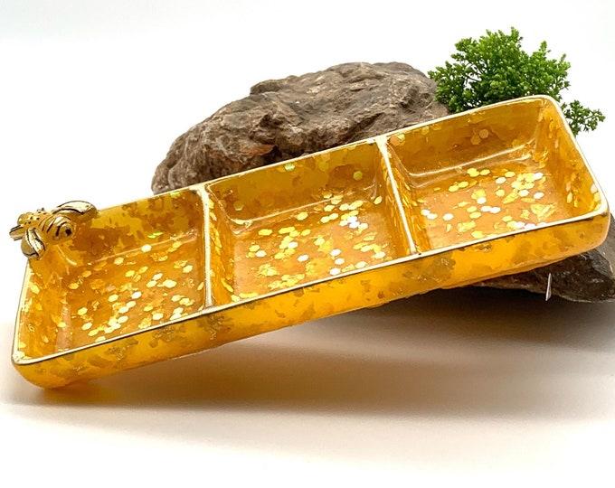 Bee Resin Oblong Jewelry Tray | Yellow Jewelry Tray | Bee Storage Tray | Jewelry Storage | Perfume Tray | Bee Room Decor | Trinket Dish