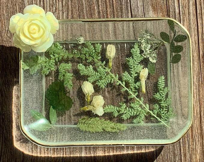 Trinket Dish - Rectangle Shaped Bowl - Trinket Tray Dish -  Floral Trinket Dish - Cottagecore