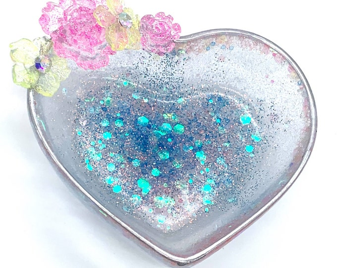 Pastel Flower Heart Shaped Trinket Box | Jewelry Storage | Ring Holder Dish | Blue Crystal Decor | Love Gift | Trinket Dish