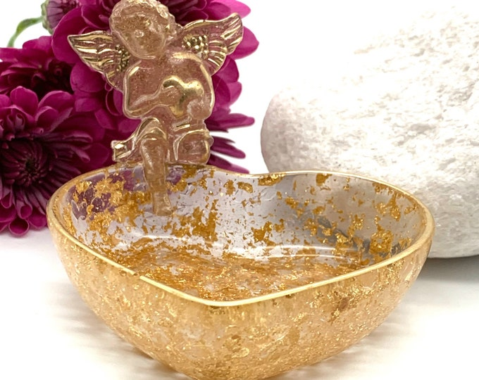 Gold Cupid Heart Resin Jewelry Tray | Gold Jewelry Tray | Cupid Storage Box | Jewelry Storage | Ring Holder Dish | Gold Home Decor