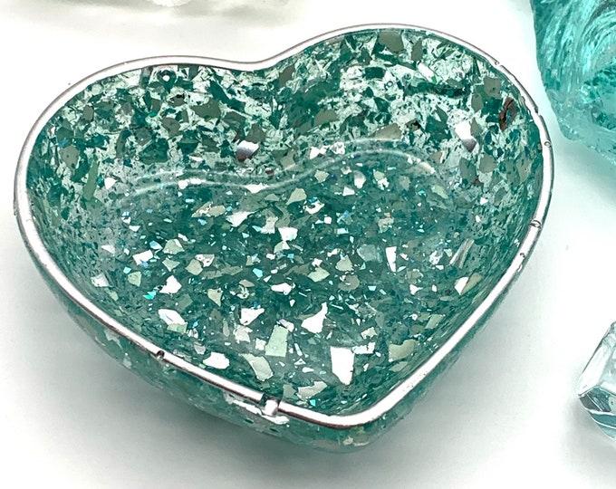 Trinket Dish   Aqua Heart Shaped Resin Storage Box   Aqua Resin Box   Jewelry Storage   Aqua Trinket Box   Aqua Resin Dish   Aqua Decor
