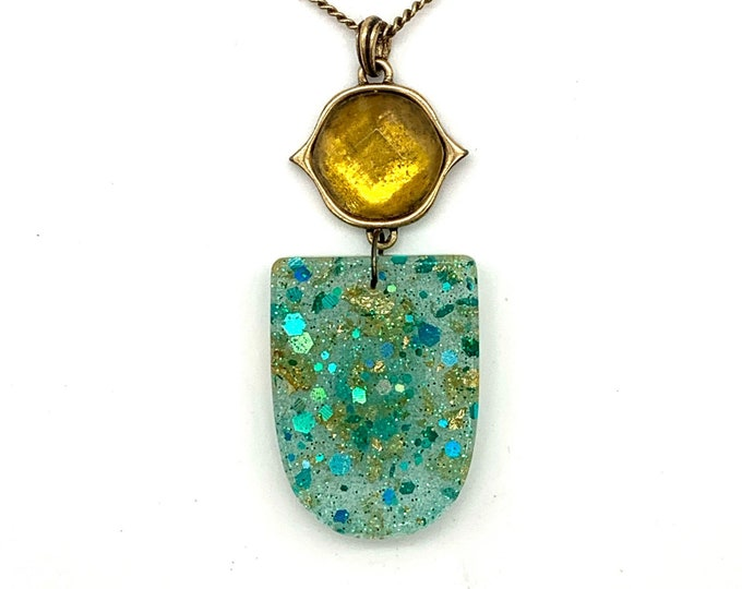 Glitter Aqua and Gold Resin Pendant Necklace | Resin Pendant | Aqua Necklace | Turquoise Pendant | Glitter Pendant Necklace