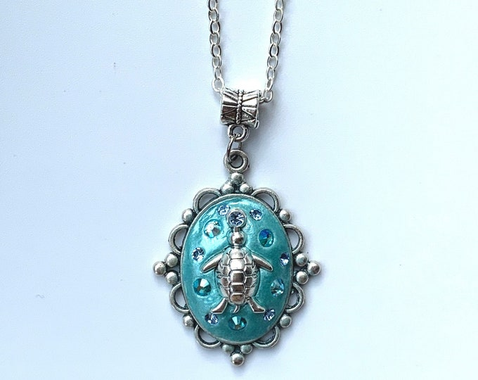 Sea Turtle Long Pendant - Silver Sea Turtle Necklace - Turtle Charm Necklace - Summer Jewelry
