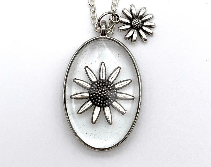 Silver Sunflower Pendant Necklace | Sunflower Necklace | Sunflower Jewelry | Flower Jewelry | Flower Necklace | Boho Necklace