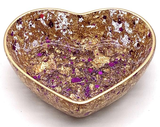 Trinket Dish - Heart Shaped Bowl - Trinket Tray Dish - Purple and Gold Heart Dish