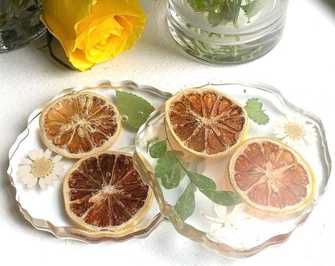 Lemon Resin Cottagecore Coaster  Fruit Coaster   Unique Wedding Gift   Natural Decor   Coaster