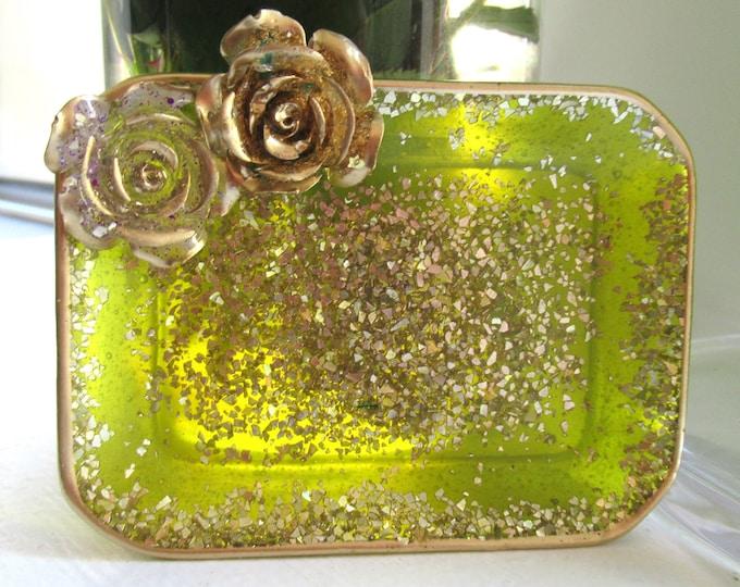 Olive Green Soap Dish | Glitter Resin Dish | Bathroom Decor | Floral Resin Dish | Green Decor | Resin Trinket Dish
