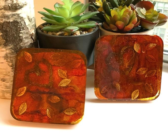 Fall Leaf Resin Cottagecore Coasters| Thanksgiving Coasters | Unique Wedding Gift | Natural Decor | Coaster Set