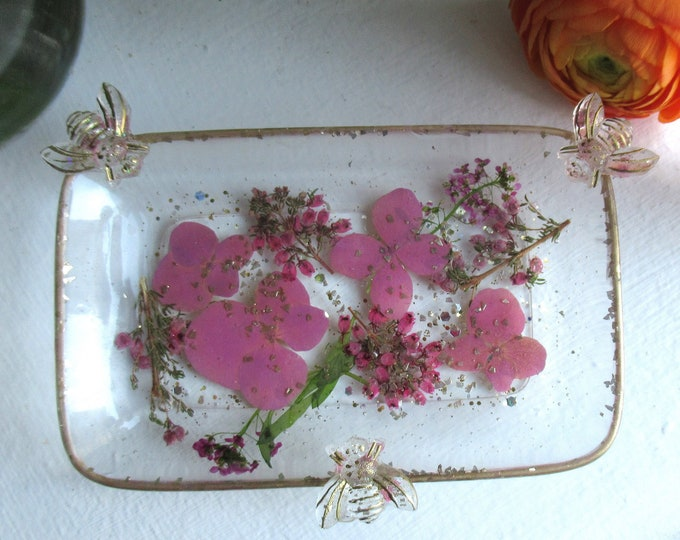 Trinket Dish - Rectangle Shaped Bowl - Trinket Tray Dish - Cottage Trinket Dish - Floral Soap Dish