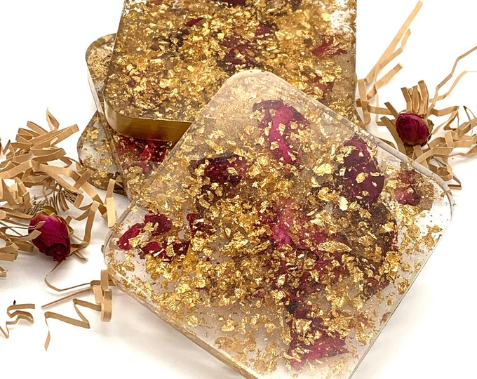 Dried Roses and Gold Glitter Drink Coasters Set | Wedding Gift Coasters | Gift Basket Coasters | Gold Wedding Anniversary | Drink Charms