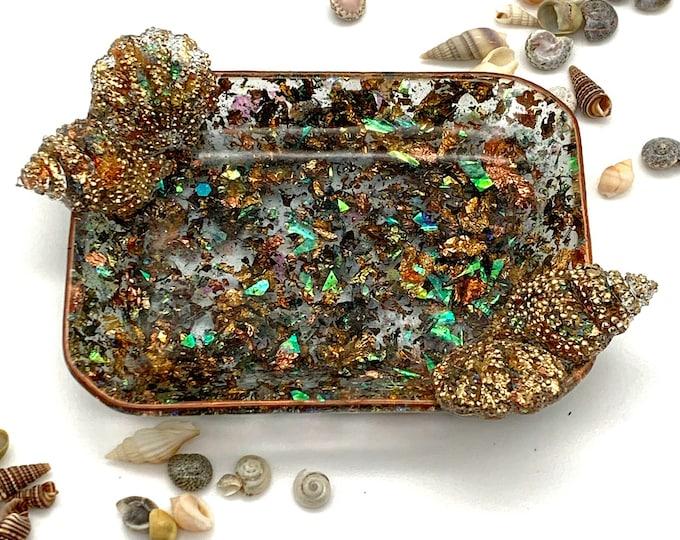 Holographic Seashell Soap Dish | Glitter Resin Dish | Seashell Bathroom Decor | Seashell Resin Dish | Beach Decor | Sea Life Decor