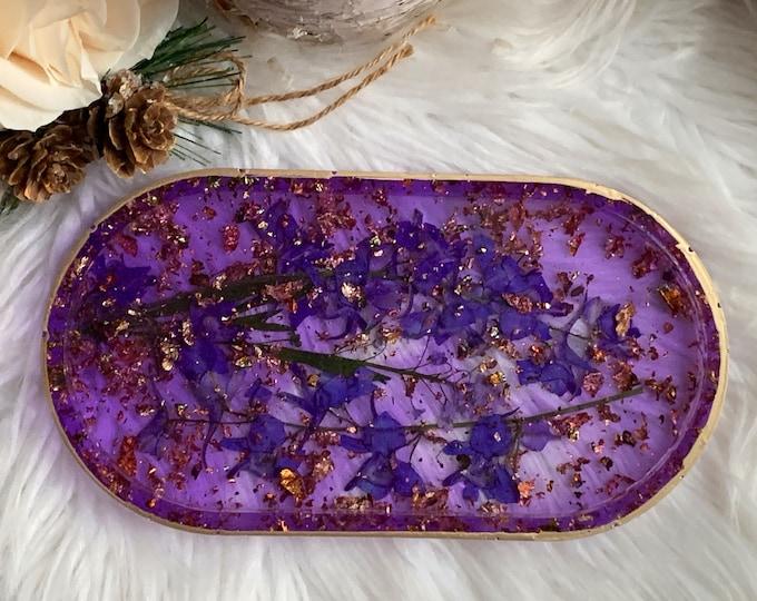 Trinket Dish - Jewelry Dish - Cottagecore Ring Dish - Ring Holder Dish - Dried Flowers - Botanical Decor