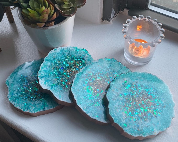 Turquoise Resin Coaster with Copper Trim | Teal Coasters | Unique Wedding Gift | Copper Leaf Decor | Resin Coaster