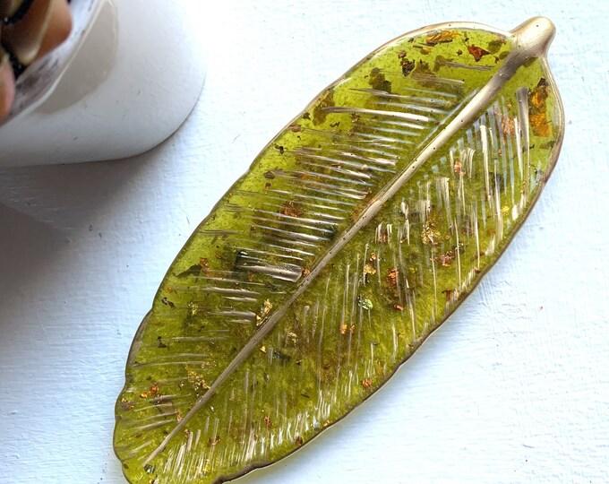 Olive Green Resin Leaf Dish | Trinket Dish | Fall Decor | Housewarming Gift | Desk Accessory