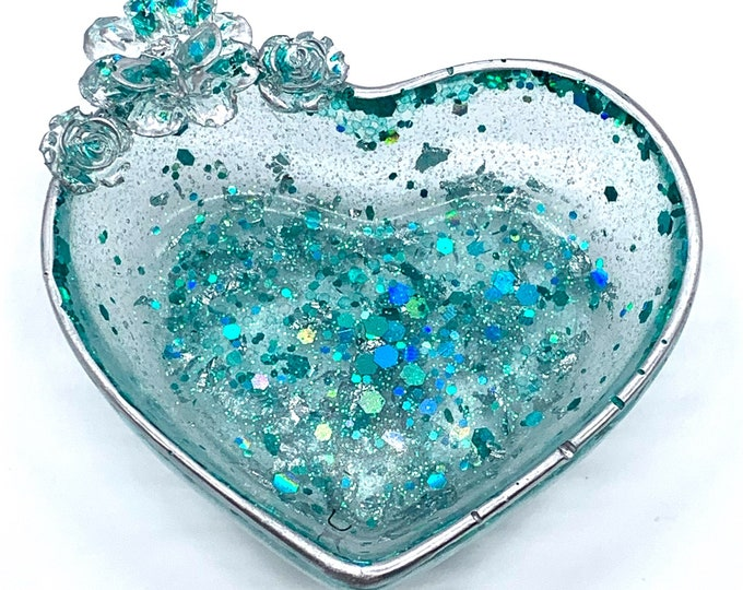 Trinket Dish | Aqua Rose Heart Shaped Resin Storage Box | Aqua Resin Box | Jewelry Storage | Aqua Trinket Box | Aqua Resin Dish | Aqua Decor