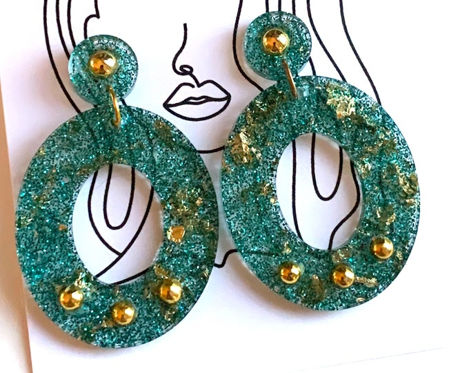 Lightweight Statement Drop Earrings | Resin Earrings with Posts | Resin Earring Dangle | Turquoise Earring