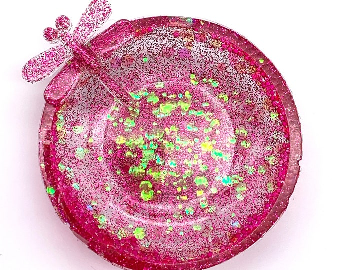 Mini Trinket Dish - Round Shaped Bowl - Trinket Tray Dish -  Rose Gold Trinket Dish - Dragon Fly Dish