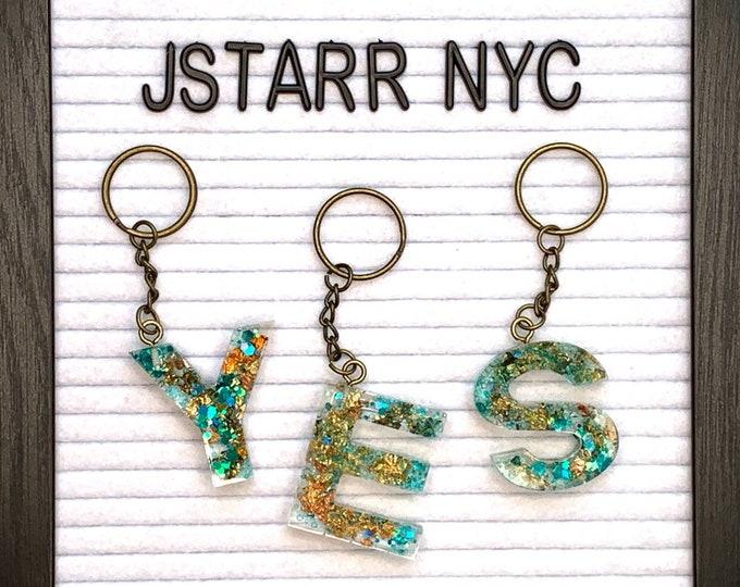 Turquoise Glitter Alphabet Letter Initial Keychain   Initial Keychain   Turquoise Key Holder   Resin Keychain   Turquoise Glitter Keychain