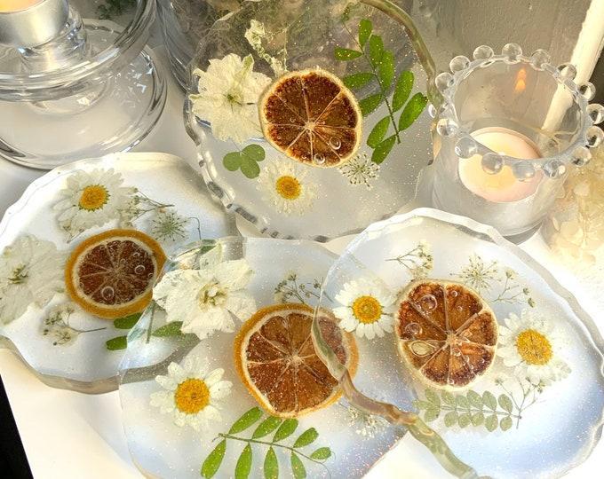 Lemon Resin Cottagecore Coasters  Fruit Coasters   Unique Wedding Gift   Natural Decor   Coaster Set