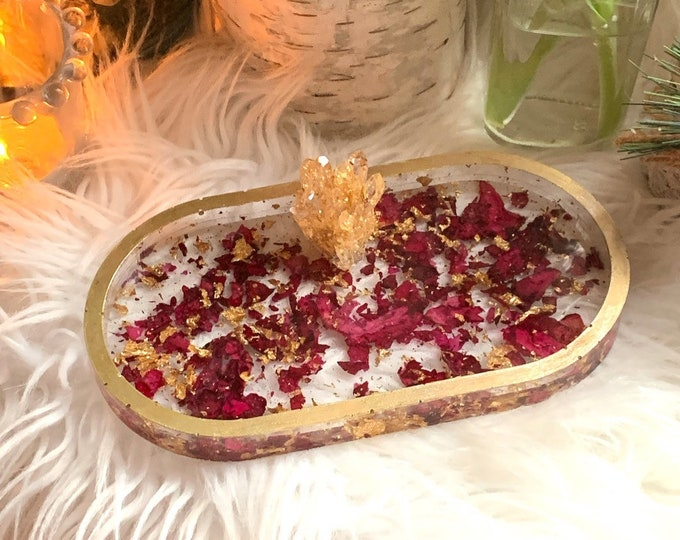 Resin with Roses | Crystal Jewelry Dish | Romantic Gifts for Her | Dresser Tray Gold Resin | Jewelry Dish | Ready to Ship