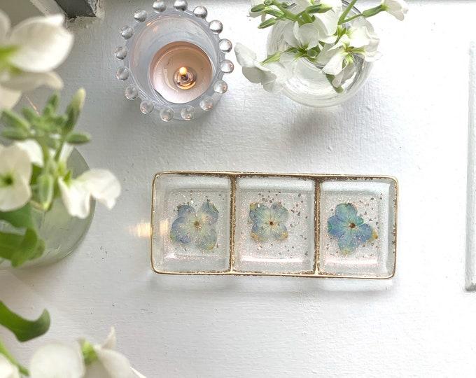 Trinket Dish - Jewelry Dish - Cottagecore - Ring Holder Dish - Blue Flowers