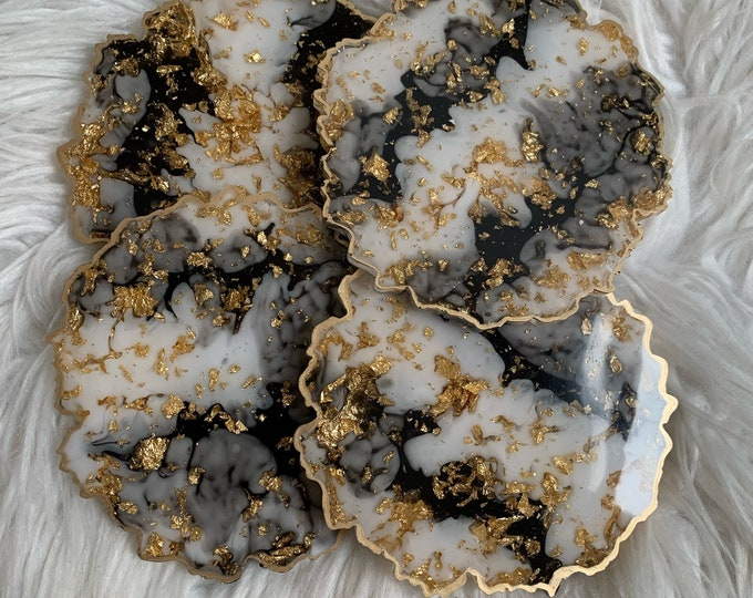 Geode Shaped Resin Coaster | Coaster Set | Black and White Decor | Gold Leaf Coaster | Unique Gift for Mom's Birthday